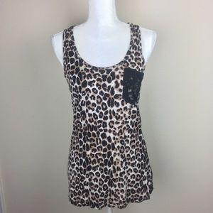 Iris LA Cheetah Rose Lace Back Tank XL